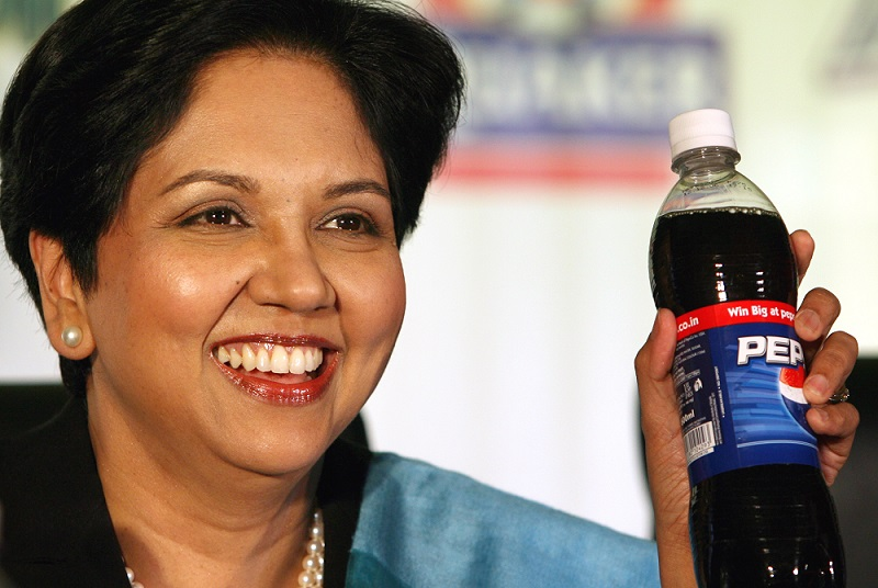 PepsiCo President and CEO Indra Nooyi addresses her first ever press conference in India, in New Delhi, Monday, Dec. 18, 2006. Nooyi said that PepsiCo and the Coca-Cola company were in the process of validating a breakthrough, science-based method to reliably and consistently measure low levels of pesticide residues in finished soft drinks. (AP Photo/Manish Swarup)